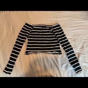 NWT Striped Long Sleeve Crop Top